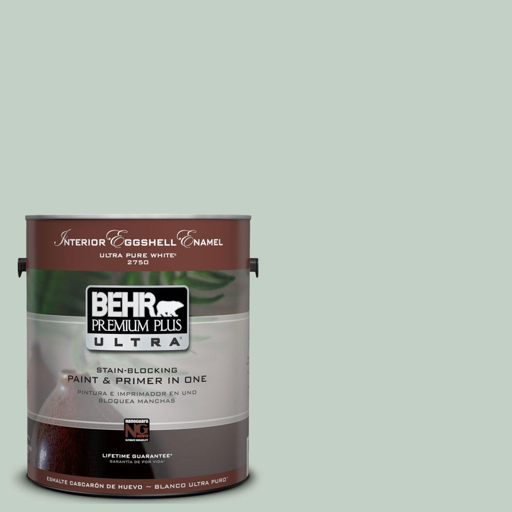 BEHR Premium Plus Ultra 1-Gal. #UL220-13 Frosted Jade Interior Eggshell Enamel Paint