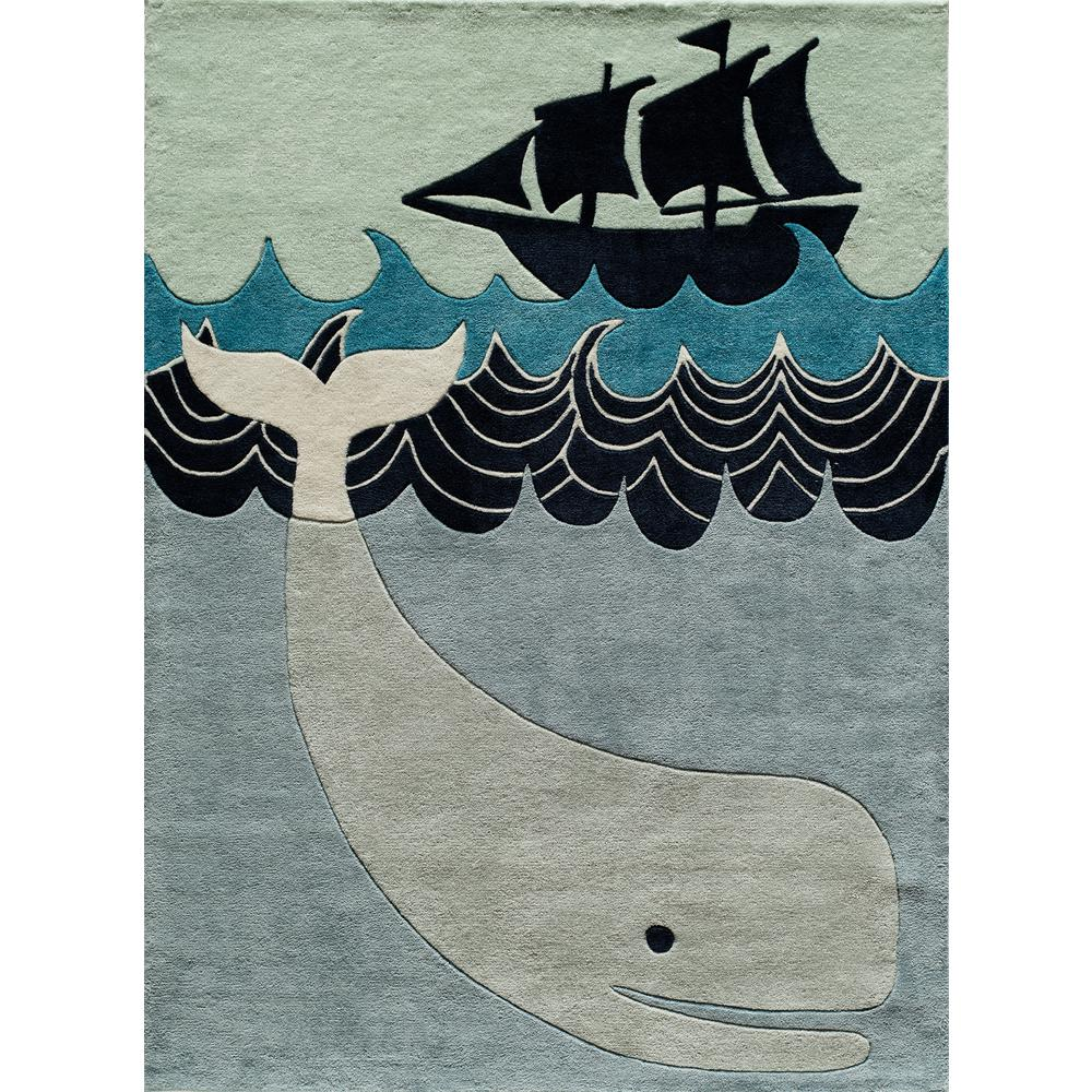 Lil Mo Whimsy Happy Whale Multi Blue 4 ft. x 6