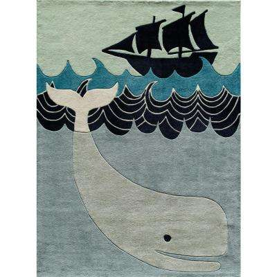 Lil Mo Whimsy Happy Whale Multi Blue 5 ft. x 7 ft. Indoor Kids Area Rug