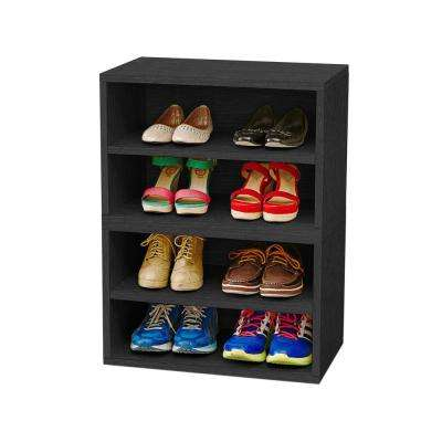 Blox System Florence Eco zBoard Tool Free Assembly Stackable 4-Cubby Modular Bookcase Storage Shelf in Black Wood Grain