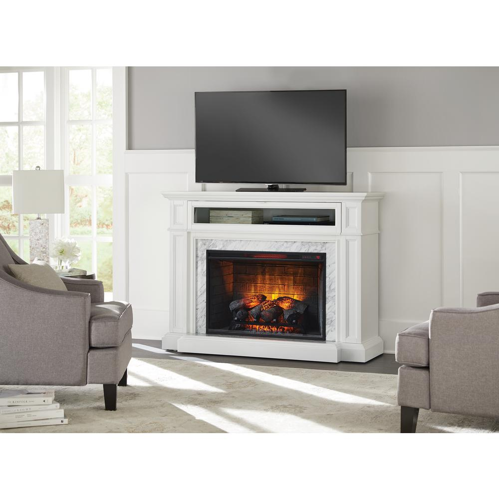 Home Decorators Collection Charice 57 in. Freestanding Infrared Electric Fireplace in White with Carrara Marble Surround