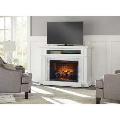 Charice 57 in. Freestanding Infrared Electric Fireplace in White with Carrara Marble Surround