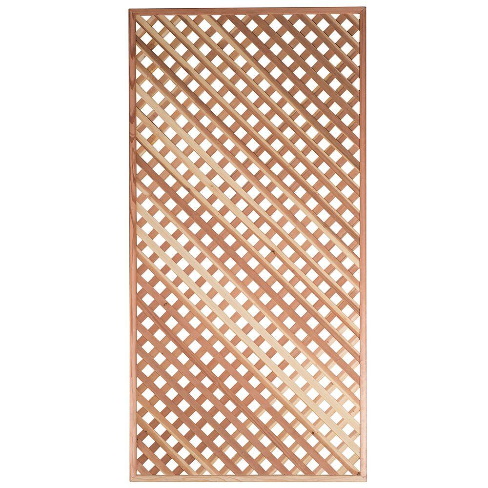 null 1-3/8 in. 4 ft. x 8 ft. Redwood Privacy Framed Lattice