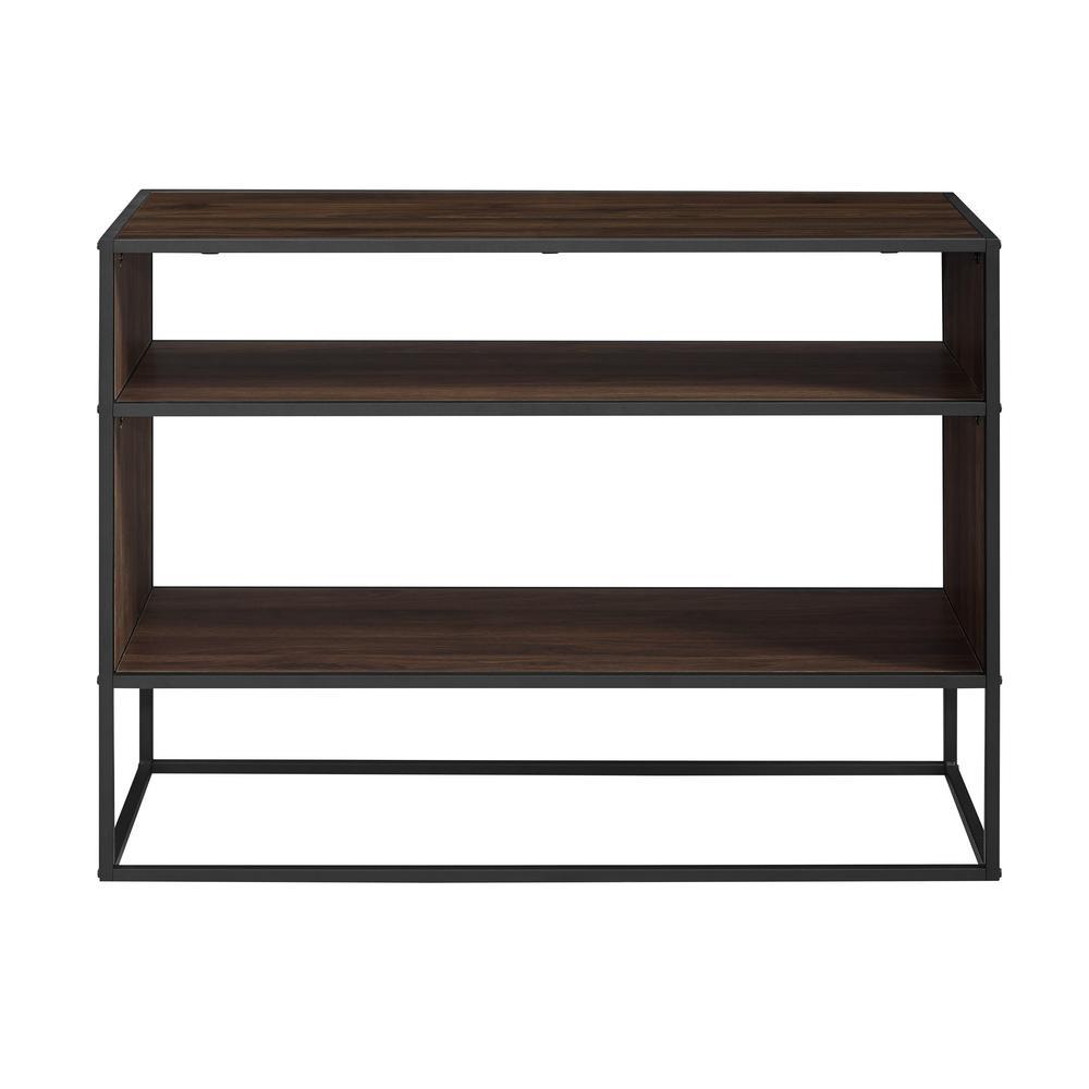 40 in. Dark Walnut Metal and Wood Storage Console