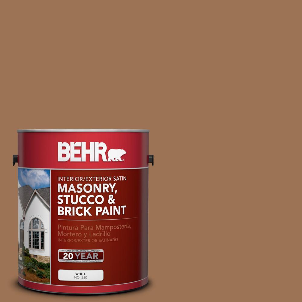 1 gal. #S240-6 Ranch Brown Satin Interior/Exterior Masonry, Stucco and Brick Paint