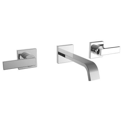 Lura 2-Handle Wall Mount Bathroom Faucet with Lever Handles in Polished Chrome