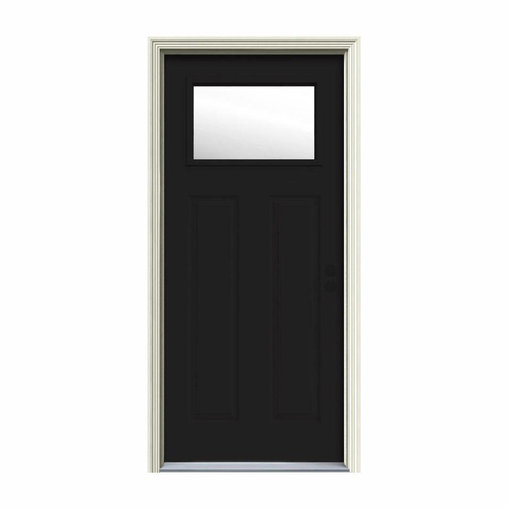 30 in. x 80 in. 1 Lite Craftsman Black Painted Steel Prehung Left-Hand Inswing Front Door w/Brickmould