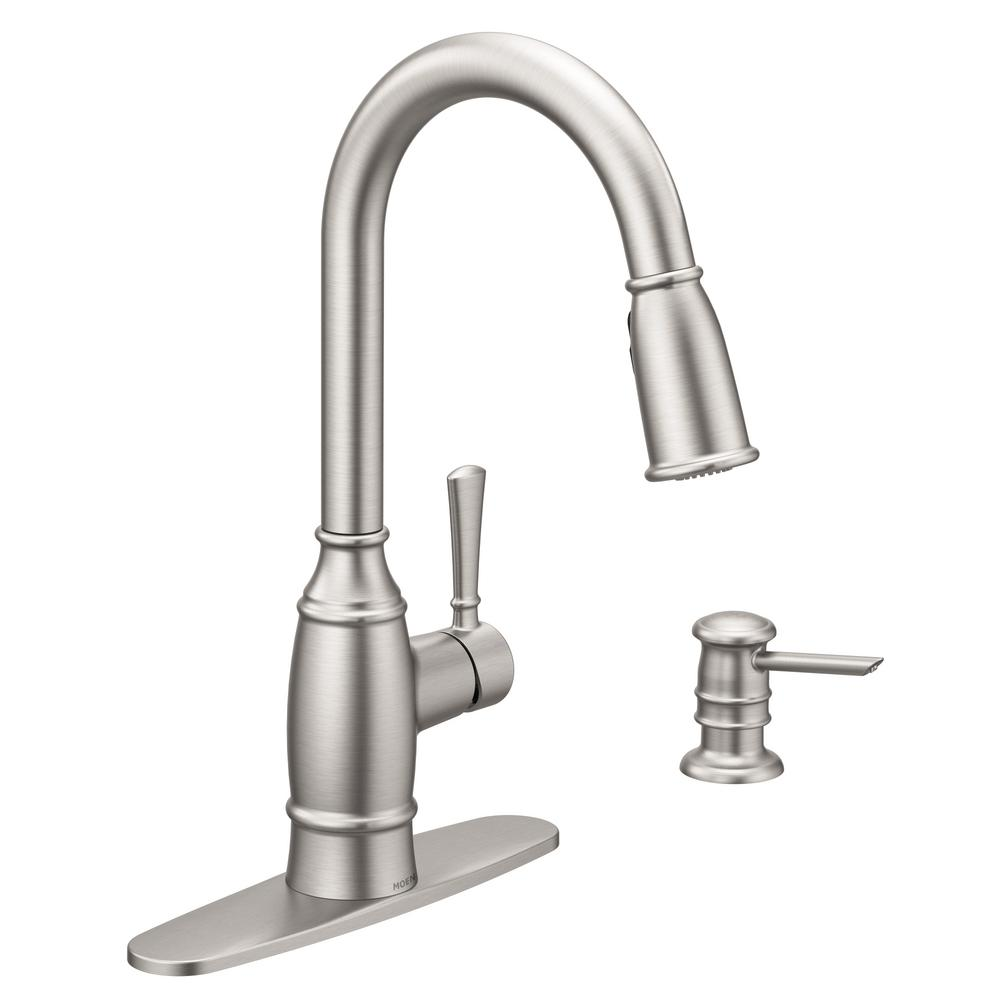 MOEN Noell Single-Handle Pull-Down Sprayer Kitchen Faucet with Reflex and  Power Clean in Spot Resist Stainless
