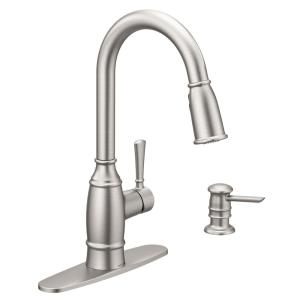MOEN Essie Single-Handle Pull-Down Sprayer Kitchen Faucet with ...
