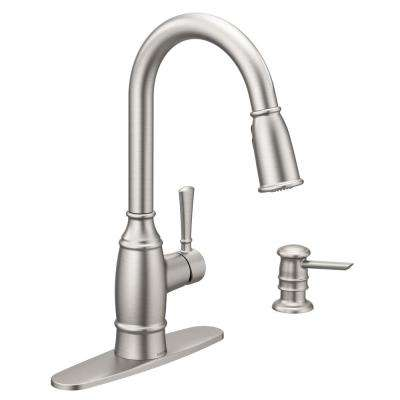 Noell Single-Handle Pull-Down Sprayer Kitchen Faucet with Reflex and Soap Dispenser in Spot Resist Stainless