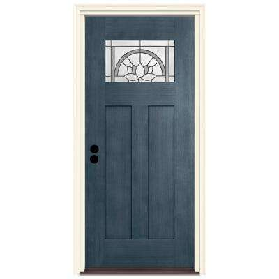 36 in. x 80 in. Right-Hand 1-Lite Craftsman Ardsley Denim Stained Fiberglass Prehung Front Door with Brickmould
