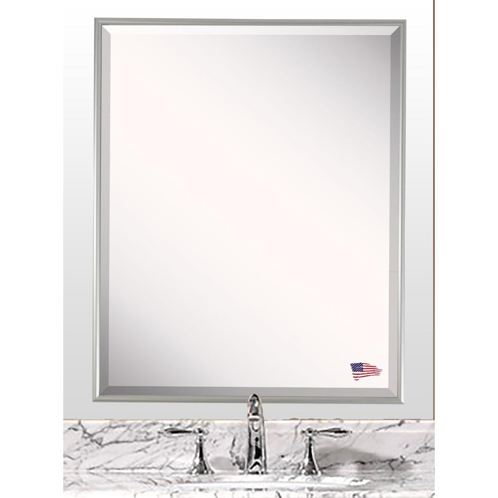 20.12 in. x 16.12 in. Charlie Satin Silver Beveled Vanity Wall Mirror