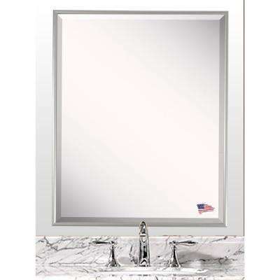 27.125 in. x 21.125 in. Charlie Satin Silver Beveled Vanity Wall Mirror