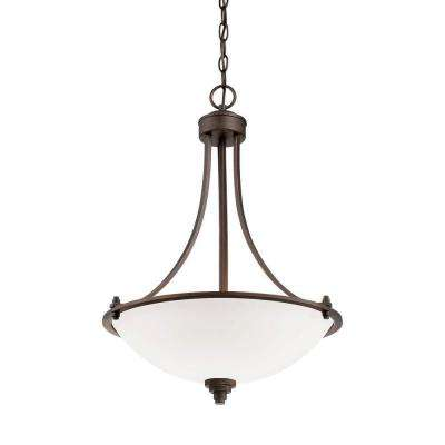 3light rubbed bronze pendant with