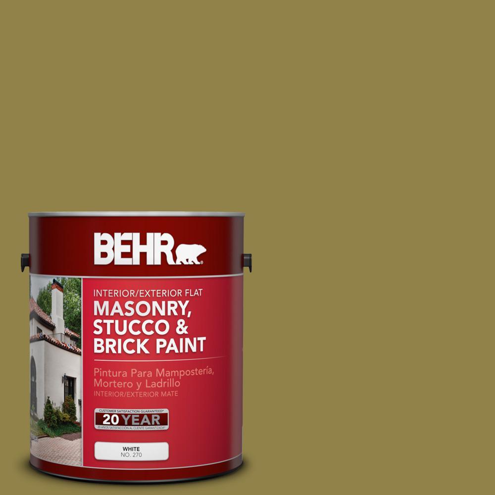 1 gal. #PPU9-02 Lucky Bamboo Flat Interior/Exterior Masonry, Stucco and Brick Paint