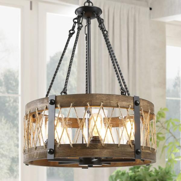 Lnc Eliora Drum Light 5 Light Black Farmhouse Dining Room Wood Chandelier With Rustic Rope Accents And Clear Glass Shades Fmarnqhd13534f6 The Home Depot