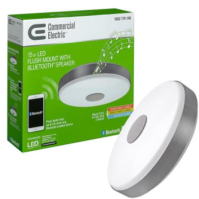 15 in. Round Brushed Nickel Selectable LED Flush Mount Ceiling Light with Bluetooth Speaker 3000K 4000K 5000K Dimmable