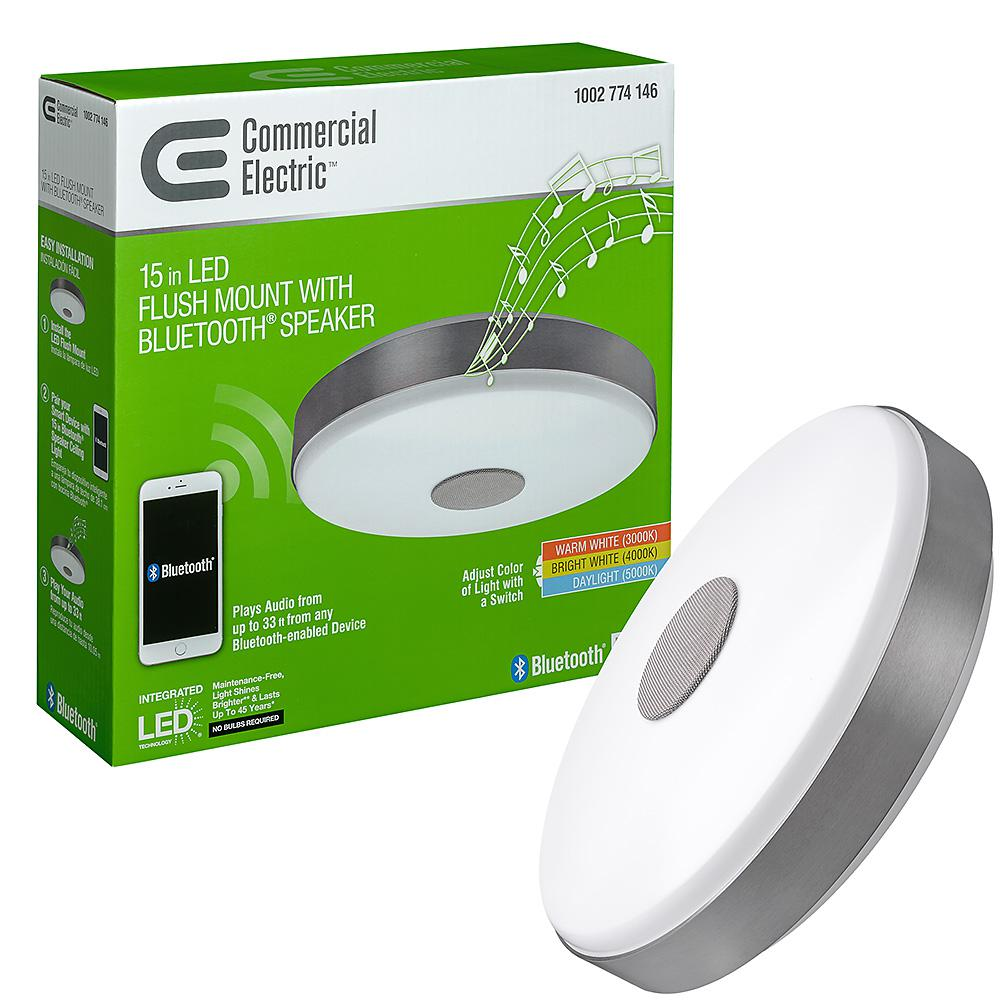 Commercial Electric 15 In Round Brushed Nickel Selectable Led Flush Mount Ceiling Light With Bluetooth Speaker 3000k 4000k 5000k Dimmable