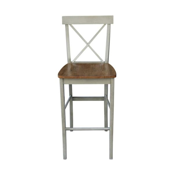 28.9 in. H Alexa Hickory / Stone X Back Bar Stool