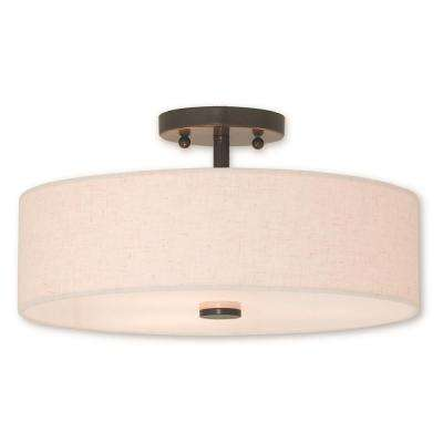 Meridian 3-Light English Bronze Semi-Flushmount