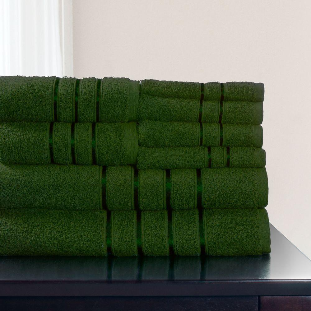 100% Cotton Bath Towel Set in Green (8-Piece)