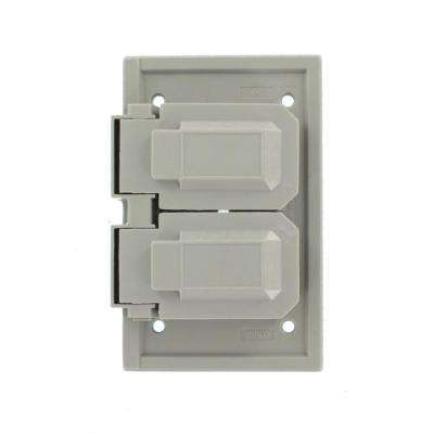 1-Gang Raintight, Weather Resistant, Horizontal Cover Plate for Duplex Receptacle - Gray