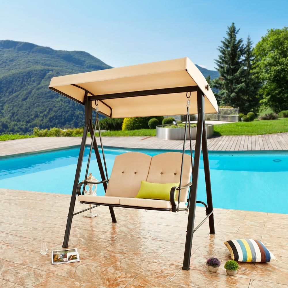 Patio Festival 64 In 2 Person Metal Swing With Beige Cushions