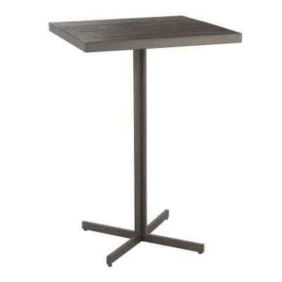 Fuji 42 in. Espresso Industrial Bar Table in Antique Metal and Wood