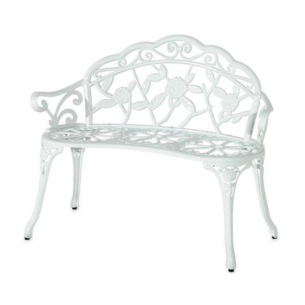 White Cast Aluminum and Cast Iron Rose Garden Park Bench