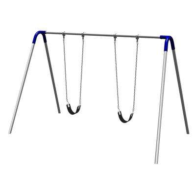 Playground Single Bay Commercial Bipod Swing Set with Strap Seats and Blue Yokes