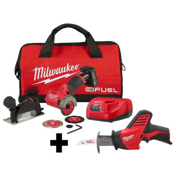M12 FUEL 12-Volt 3 in. Lithium-Ion Brushless Cordless Cut Off Saw Kit with M12 Hackzall Reciprocating Saw
