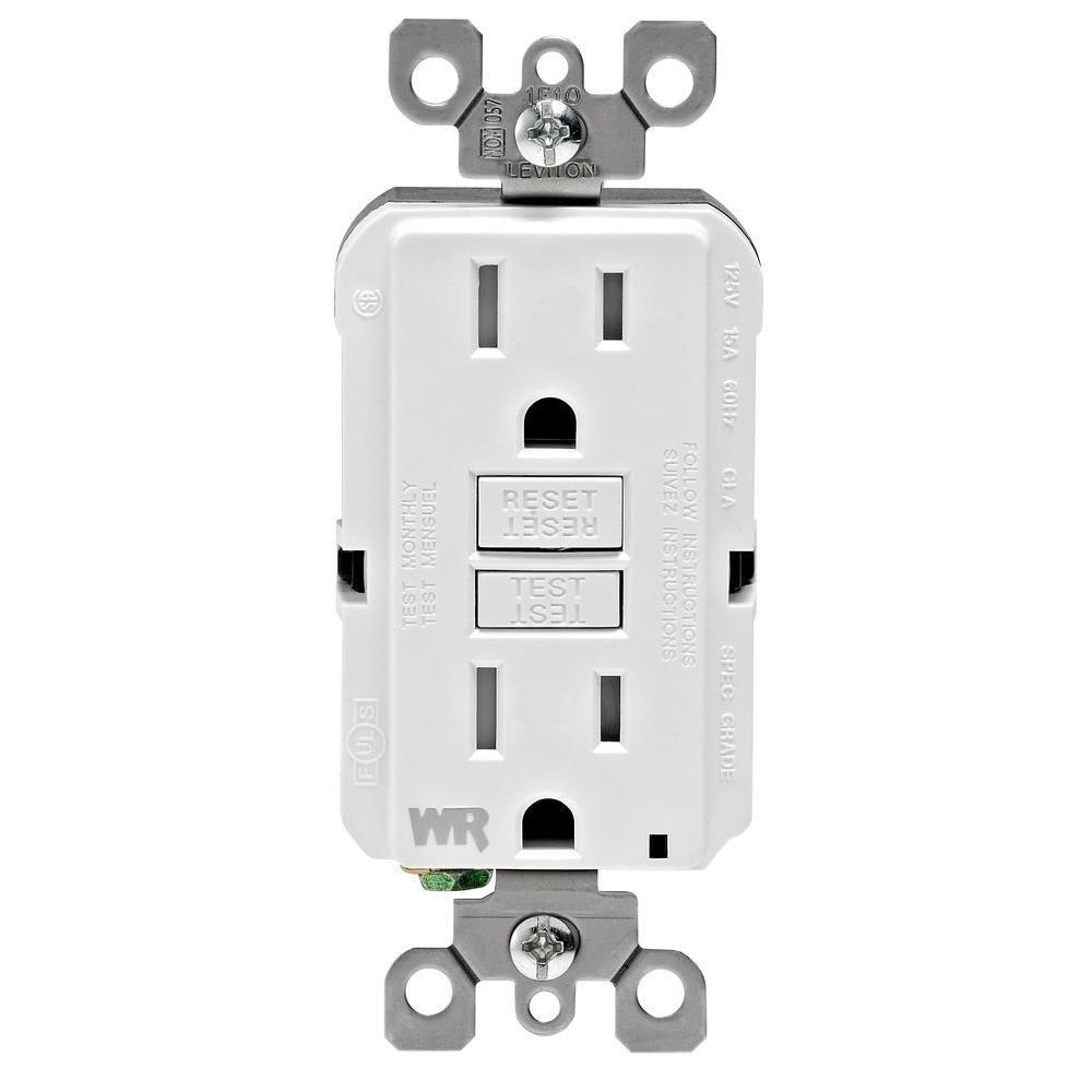 15 Amp 125-Volt Duplex Self-Test Tamper Resistant/Weather Resistant GFCI Outlet, White (9-Pack)