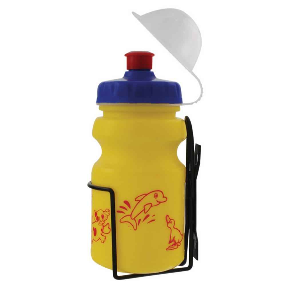Ventura 12 oz. Yellow Children's Bicycle Water Bottle and Cage Set