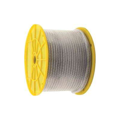 3/16 in. x 1/4 in. x 250 ft. Vinyl-Coated Galvanized Aircraft Cable, 7x19 Construction - 850 lbs Safe Work Load - Reeled