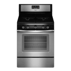 Click here to buy Whirlpool 30 inch 5.0 cu. ft. Gas Range with Self-Cleaning Convection Oven in Stainless Steel by Whirlpool.