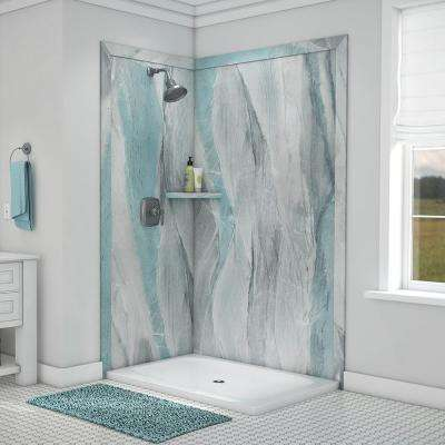 Elegance 36 in. x 48 in. x 80 in. 7-Piece Easy Up Adhesive Corner Shower Wall Surround in Triton