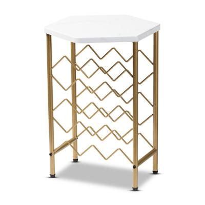 Phoebe 12-Bottle White and Gold Wine Rack