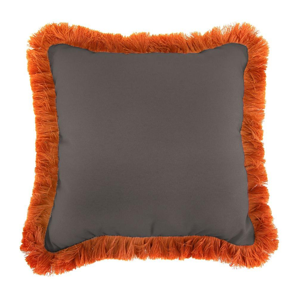 Sunbrella Canvas Coal Square Outdoor Throw Pillow with Tuscan Fringe