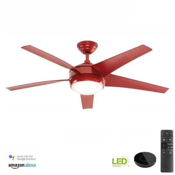 Windward IV 52 in. LED Indoor Red Ceiling Fan with Light Kit Works with Google Assistant and Alexa