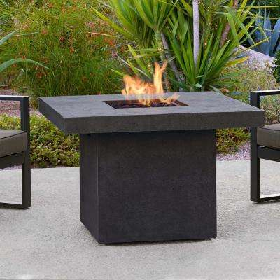 Ventura 36 in. x 25 in. Square Fiber-Concrete Propane Fire Pit in Kodiak Brown with Natural Gas Conversion Kit