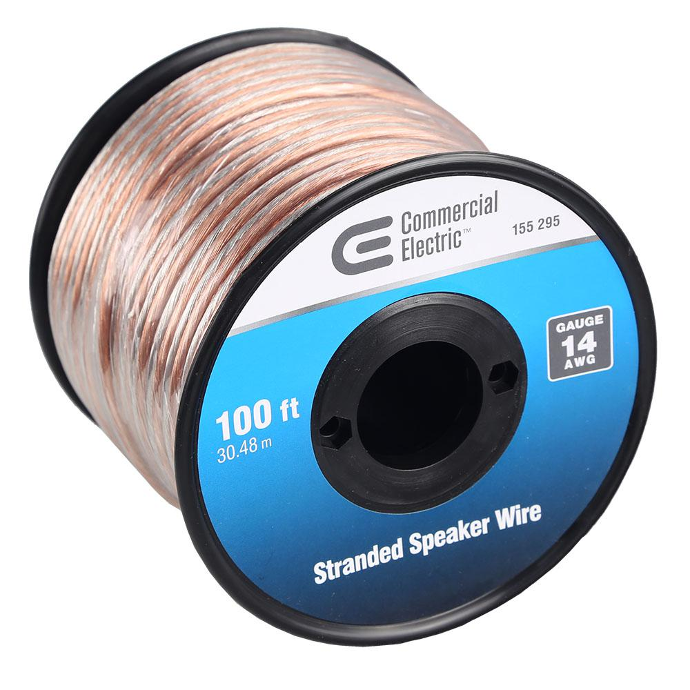 Commercial Electric 100 ft. 14-Gauge Stranded Speaker Wire-Y283465 ...