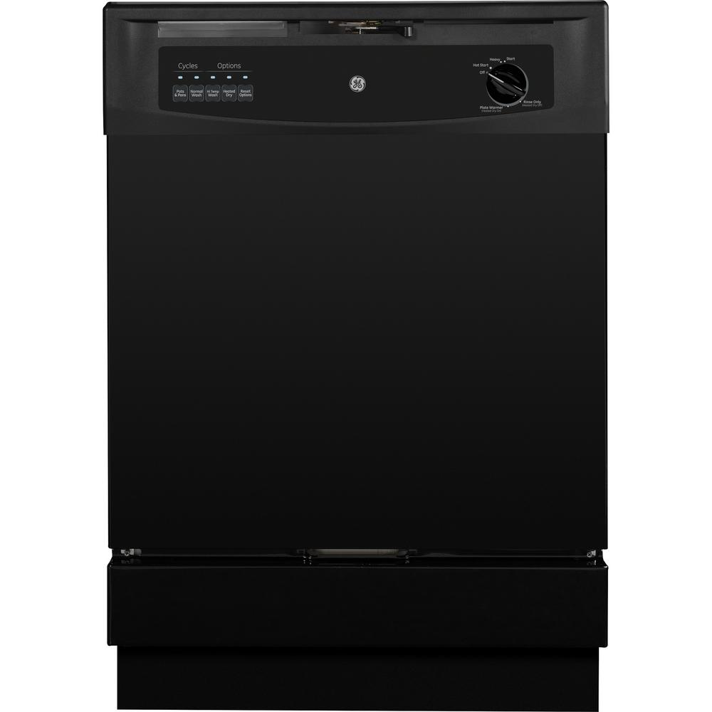GE Front Control Dishwasher in Black, 62 dBA