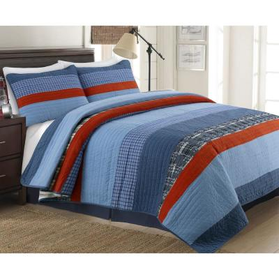 Sophisticated Sailor Nautical Stripped Patriotic 2-Piece Navy Blue Red Tartan Plaid Cotton Twin Quilt Bedding Set