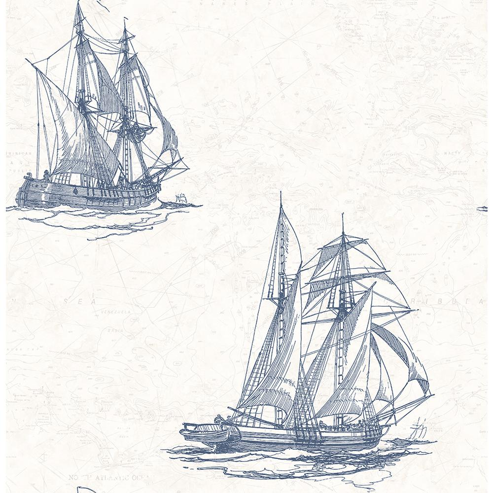 Chesapeake 8 in. x 10 in. Hudson Bay Blue Nautical Wallpa...