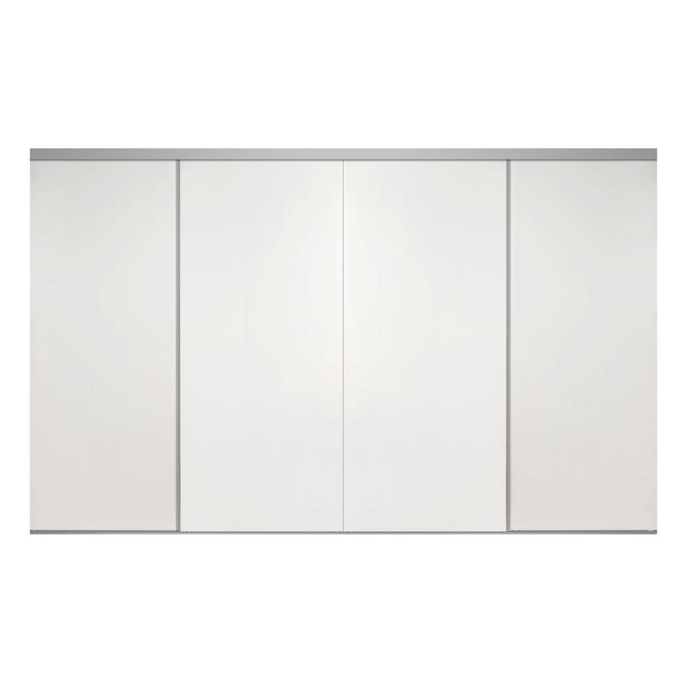 Impact plus 144 in x 80 in smooth flush white solid core for Sliding glass doors 108 x 80