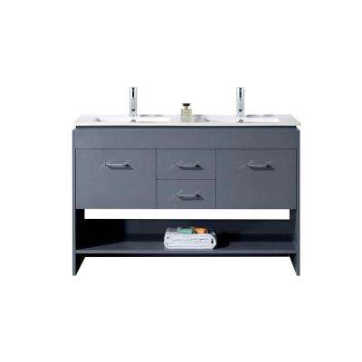 Gloria 48 in. W Bath Vanity in Gray with Ceramic Vanity Top in Slim White Ceramic with Square Basin and Faucet