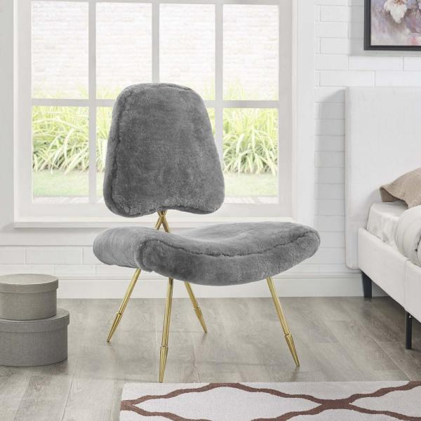 MODWAY Ponder Upholstered Sheepskin Fur Lounge Chair in Gray EEI-2810-GRY