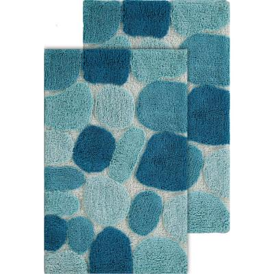 Pebbles Arctic Blue 20 in. x 32 in. Cotton 2-Piece Bath Rug Set