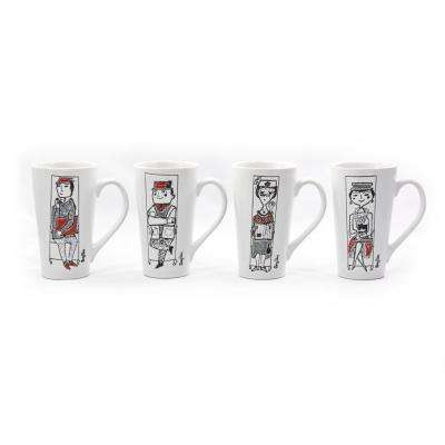 Mary Blair 18 oz. Commuters Ceramic Latte Mugs (Set of 4)