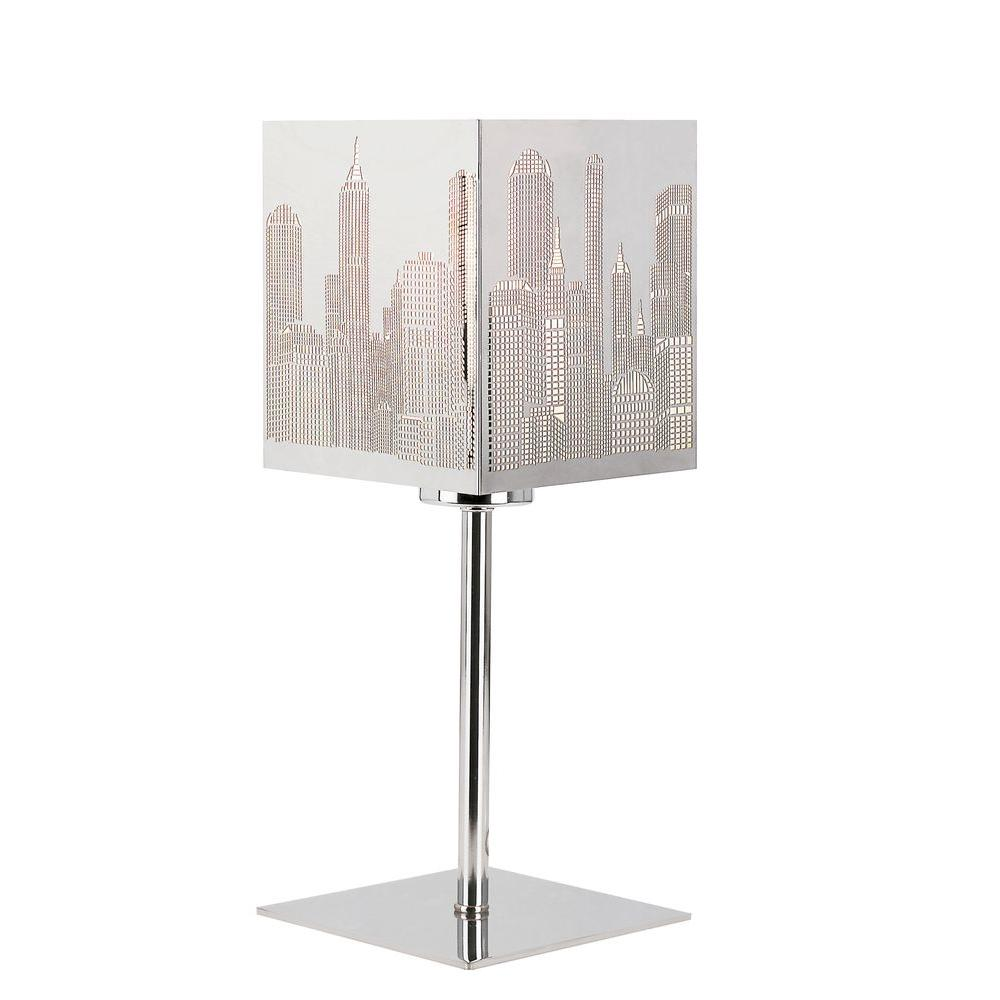 Bel Air Lighting Stewart 12.5 in. Chrome Incandescent Table Lamp-DISCONTINUED